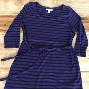 Maternity purple and black stripe dress/tunic